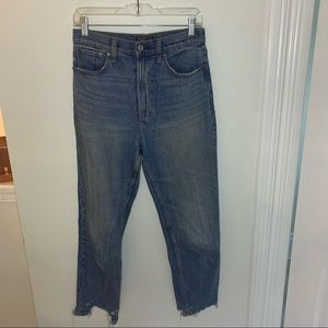 A&F High Rise Ankle Straight Raw Hem Jeans 27